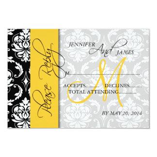 Wedding RSVP Cards Damask Monogram Yellow