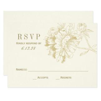 Wedding RSVP Cards   Gold Floral Peony