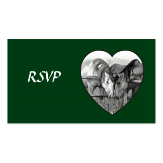 WEDDING RSVP CARDS: HORSES in PENCIL: HEART Double-Sided Standard Business Cards (Pack Of 100)