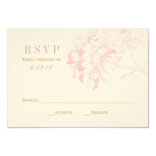 Wedding RSVP Cards Pink Floral Peony