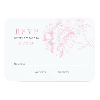 "Wedding RSVP Cards | Pink Floral Peony 3.5"" X 5"" Invitation Card"