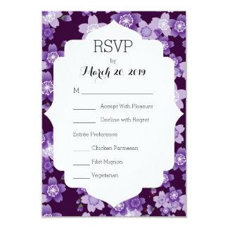 Wedding RSVP Cherry Blossoms Purple Sakura Card