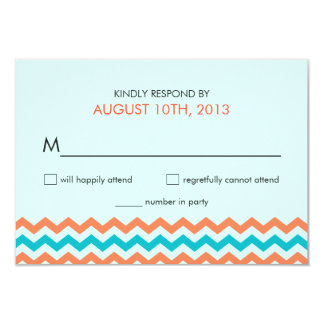 Wedding RSVP Chevron Zigzag Reply Cards Personalized Announcement