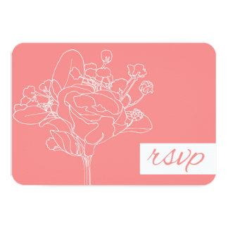 Wedding RSVP (Coral) 9 Cm X 13 Cm Invitation Card