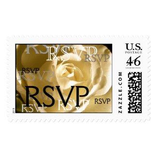 Wedding RSVP Cream Rose Postage stamp