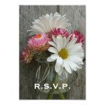 Wedding RSVP: Daisies, Strawflowers, & Barnwood Invitation