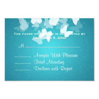 Wedding RSVP Elusive Butterflies Blue 3.5x5 Paper Invitation Card