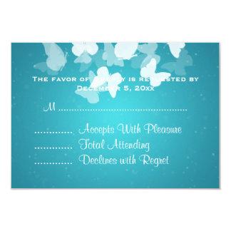 Wedding RSVP Elusive Butterflies Blue Card