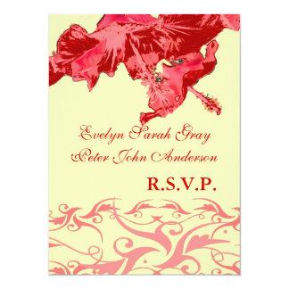 Wedding rsvp exotic red hibiscus brocade card