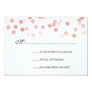 Wedding RSVP Faux Rose Gold Foil Glitter Lights 3.5x5 Paper Invitation Card