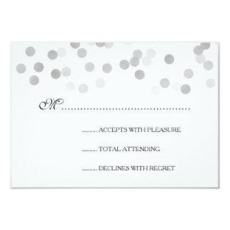 Wedding RSVP Faux Silver Foil Glitter Lights 3.5x5 Paper Invitation Card