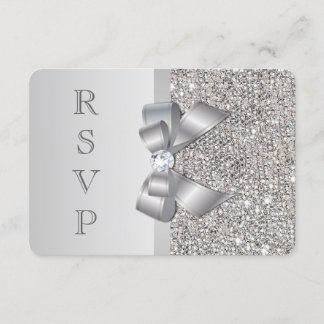 Wedding RSVP Faux Silver Sequins Bow