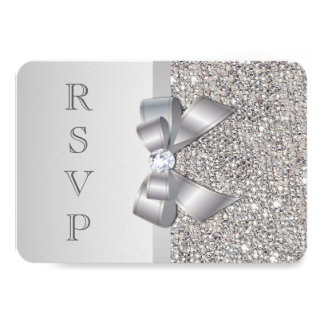 Wedding RSVP Faux Silver Sequins Bow Card