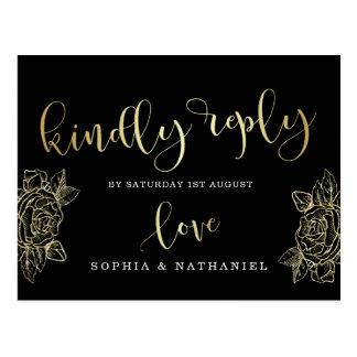 Wedding RSVP | Gold Glitter Roses & Black Postcard