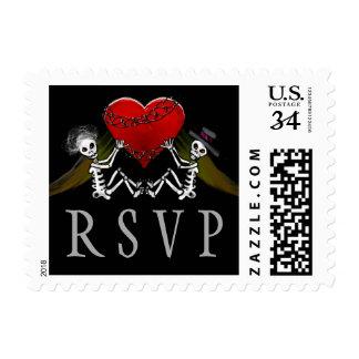 Wedding RSVP Halloween Skeletons with Heart Postage