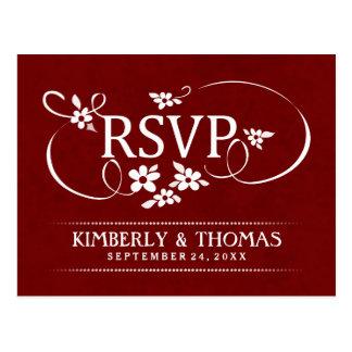 Wedding RSVP Maroon Red & White Floral Scroll Postcard