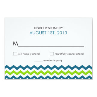Wedding RSVP Modern Chevron Zigzag 3.5x5 Paper Invitation Card