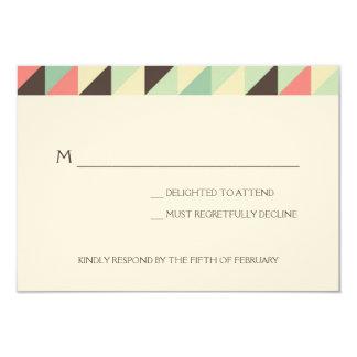 Wedding RSVP | Modern Triangles 3.5x5 Paper Invitation Card