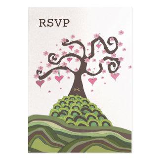 Wedding RSVP Monogram Blossom Tree Flat Cards Large Business Card