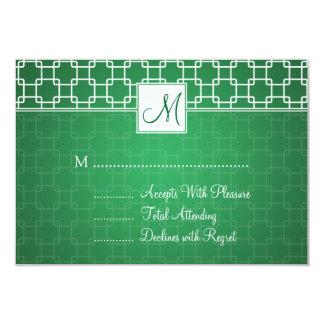 Wedding RSVP Monogram Trellis Pattern Green Card