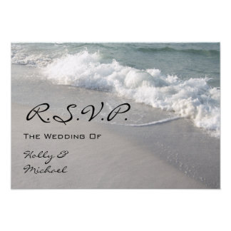 Wedding RSVP - Ocean Waves Sand Personalized Announcement