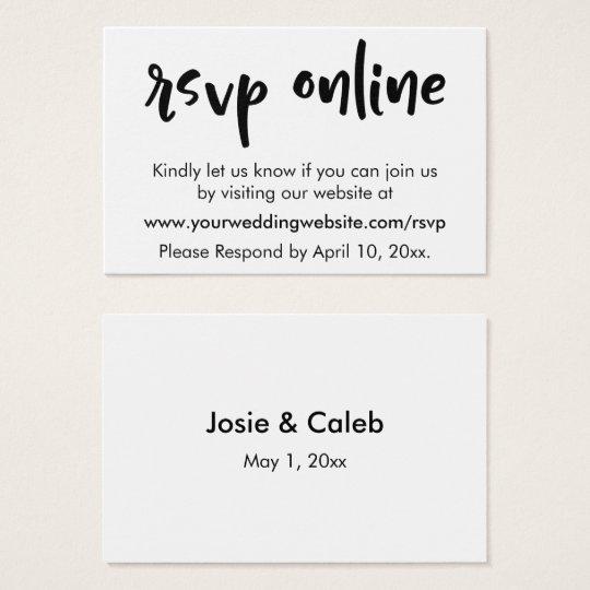 Wedding RSVP Online Casual Insert Black White 11