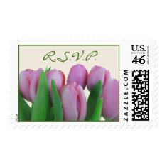 Wedding RSVP Postage - Pink Tulips