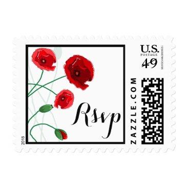Wedding RSVP Postage | Red Poppies