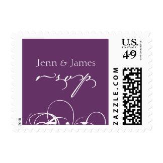 Wedding RSVP Postage Stamps Names Swirls Purple