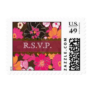 Wedding RSVP postage stamps summer florals