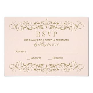 Wedding RSVP Postcard | Antique Gold Flourish