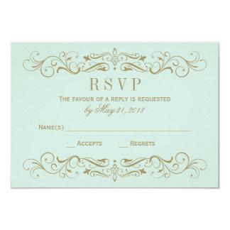 Wedding RSVP Postcard | Antique Gold Flourish Custom Invitations
