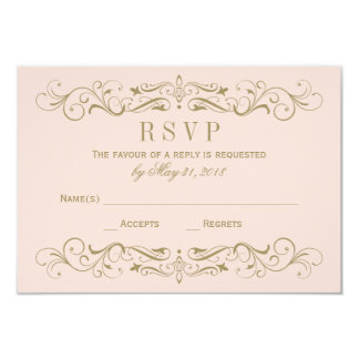 "Wedding RSVP Postcard | Antique Gold Flourish 3.5"" X 5"" Invitation Card"