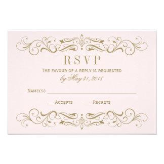 Wedding RSVP Postcard Antique Gold Flourish Personalized Announcements