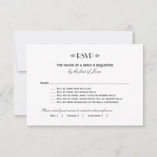Wedding Rsvp Postcard Art Deco Elegant Style