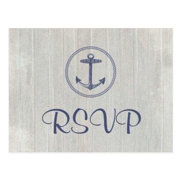 Beach Themed Wedding RSVP Postcard | Nautical Anchor