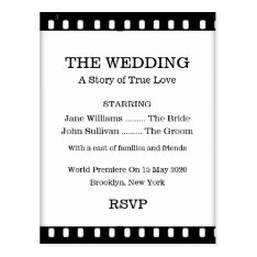 Wedding Rsvp Postcard With A Movie Film Theme at Zazzle