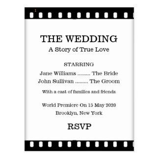 Wedding RSVP Postcard With A Movie Film Theme