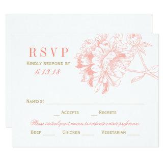 Wedding RSVP Postcards | Coral Floral Peony