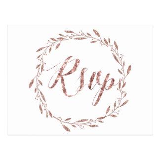 Wedding RSVP Postcards Rose Gold Foil Wreath