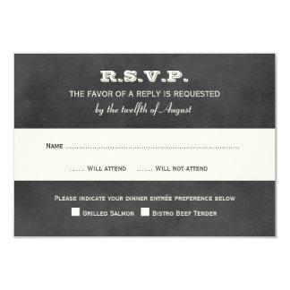 Wedding RSVP Postcards | Vintage Black Chalkboard 3.5x5 Paper Invitation Card