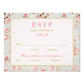 Wedding RSVP Postcards   Vintage Garden Party 4.25x5.5 Paper Invitation Card