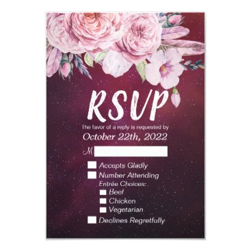 Wedding Themed Wedding RSVP Reply Boho Floral Burgundy Red Starry Card