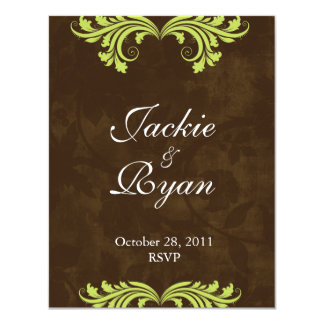 Wedding RSVP Reply Card Antique Rose Brown Green
