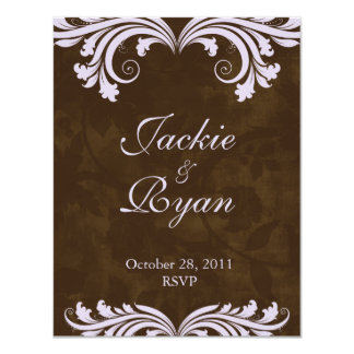Wedding RSVP Reply Card Antique Rose Brown Purple