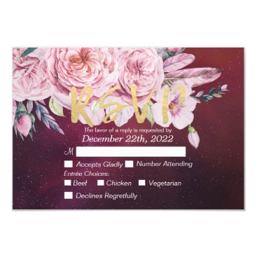 Wedding Themed Wedding RSVP Reply Elegant Red Boho Floral Feather Card