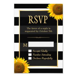 Wedding RSVP Rustic Sunflower Black White Striped Card