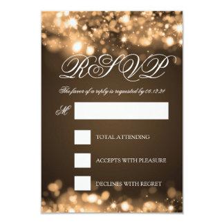 Wedding RSVP Sparkling Lights Gold 3.5x5 Paper Invitation Card