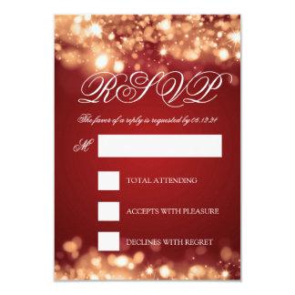 Wedding RSVP Sparkling Lights Gold Card