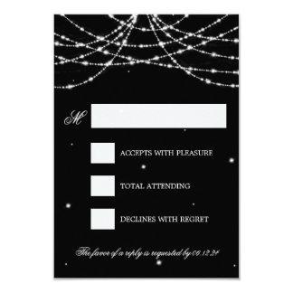 Wedding RSVP Sparkling String Black 3.5x5 Paper Invitation Card